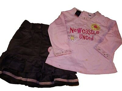 GIRLS NEWCASTLE UNITED NUFC 2 PIECE CORDUROY SKIRT & L/S TOP Age 18 months