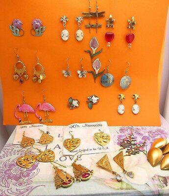 Vintage wholesale lot of Hand Crafted Jewelry lots Art Nouveau Style Earrings 25