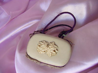 Antique Victorian Era Celluloid Ivory Ivorine Coin Money Purse Vintage Silk Line