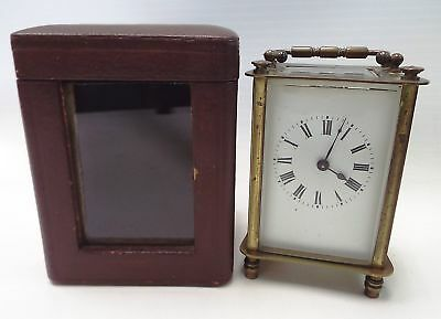 Vintage BRASS Carriage Clock With Key And Case - E18