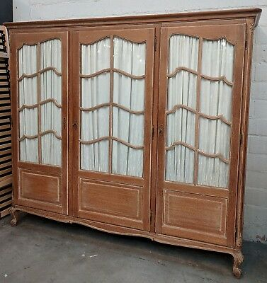 Vintage French Louis XV 3 Door LIMED OAK Glazed Armoire Wardrobe FLAT PACK