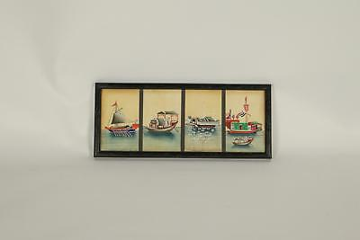 Antique 19thC Chinese Style Of Tingqua / Sunqua Four Ships Pith paintings Framed