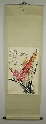 Vintage 20C Chinese Hanging Scroll Seasonal Flowers Butterflies Painting Paper