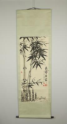 Vintage 20thC Chinese Hanging Scroll Bamboo on Riverside Painting On Paper