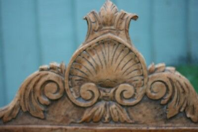 SUPERB 19thC WOODEN OAK RELIEF CARVED PEDIMENT WITH SHELL, LEAVES OTHER c1880s