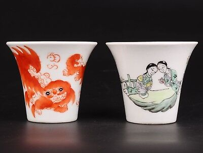 2 Rare Chinese Porcelain Jars Hand-Painted Beauty Goldfish Home Decoration Gift