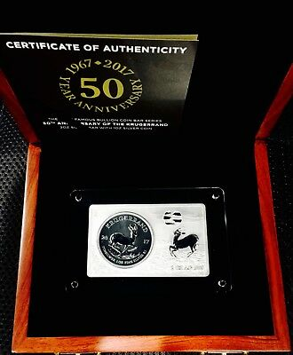 2017 1 Oz 50Th Anniversary Of South African Krugerrand In A 2 Ounce Silver Bar!