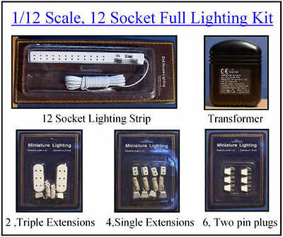 1/12, Dolls house 12 Socket Lighting Kit & Transformer, extensions, plugs BN LGW