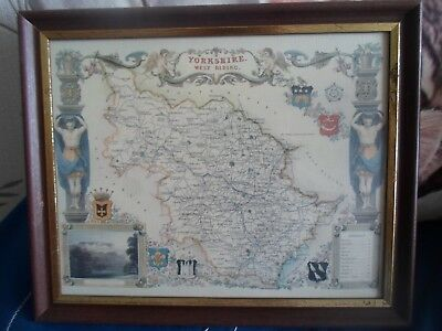 YORKSHIRE WEST RIDING Framed+Glazed Repro Old Map - Wall Hanging §MAP1