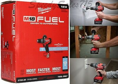 """Milwaukee 2706-20 M18 FUEL 1/2"""" Hammer Drill Driver With """"ONE-KEY"""" Bare Tool New"""