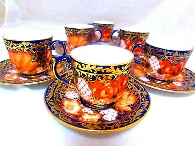 RARE 6 ROYAL CROWN DERBY IMARI 3506 Coffee Demitasse Cups Saucers C1892 PRISTINE