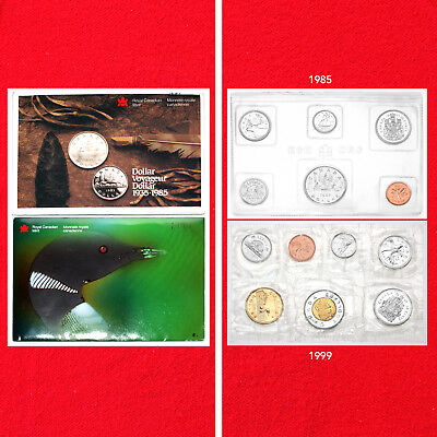 1985 & 1999 Canadian Mint Sets (Two Sets) (13 Total Coins)