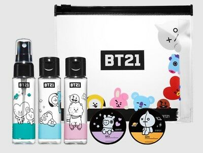 New BTS(K-Pop Bangtan Boys)BT21 Official Character Cosmetic Container Travel Kit