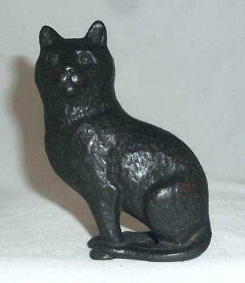 Vintage Cast Iron Still Penny Bank Seated Cat with Soft Hair
