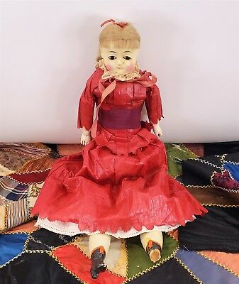 """Extremely Rare 22"""" Antique Late 1700's / Early 1800's Queen Anne Doll"""