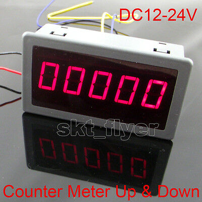 """0.56"""" Red LED Digital Reversible Counter Meter Up & Down DC12-24V High Quality"""
