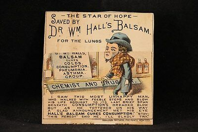 Metamorphic Victorian Trade Card: Dr. Wm. Hall's Balsam Medical for the Lungs