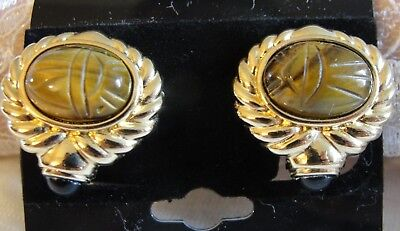 Vintage Signed Roan  Stunning Tiger's Eye Scarabs Clip On  Earrings