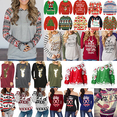 Xmas Tops Women's Ugly Sweater Jumper Christmas Hoodies Pullover T Shirt Blouses