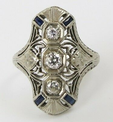VTG Belais Art Deco 18k White Gold .29 cwt diamond & blue sapphire shield ring