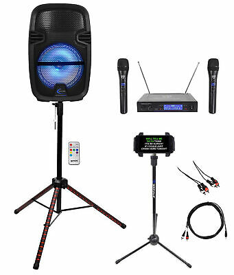 "Technical Pro 8"" Karaoke Machine System w/LED Stand+Tablet Stand+2 Wireless Mics"
