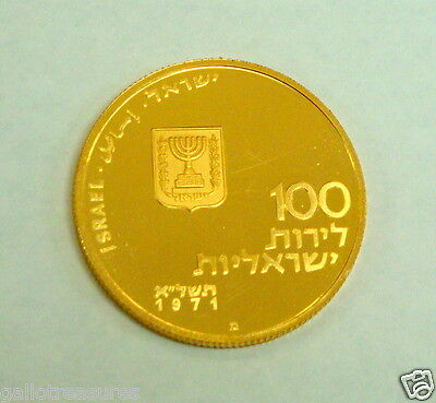 "Israel Gold Coin 1971 ""LET MY PEOPLE GO"" 30mm 22g in Original Case excellent"