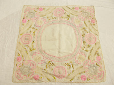 Vintage Antique EMBROIDERED SOCIETY SILK White LACE WEDDING Handkerchief Hanky