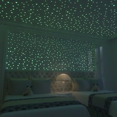 Glow In The Dark Stars: 824 Realistic 3D Stars For Ceiling Or Walls In 4 Sizes T