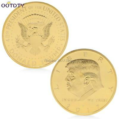 America 45th President Donald Trump Gold Plated Commemorative Coin Novelty Token