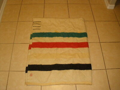 Old Vintage HUDSONS Hudson's BAY 100% WOOL 4 POINT Striped camp BLANKET 70 X 89
