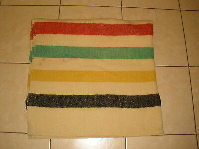 Vintage Heavy Duty PURE WOOL Camping Cabin Lodge winter Striped BLANKET 67 X 78