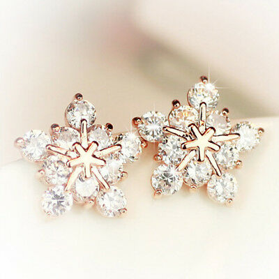 Fashion Women's Jewelry Crystal Rhinestone Zircon Ear Stud Snowflake Earrings