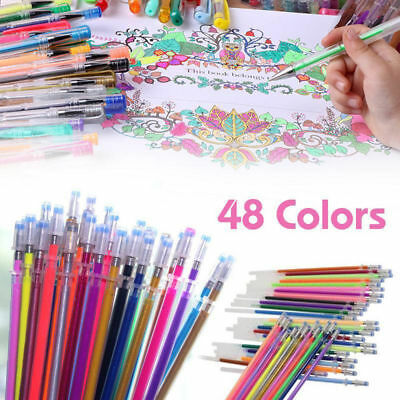 48Pc Color Gel Pen Set Refills Coloring Book Ink Pens Drawing Painting Craft L