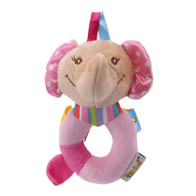 Cartoon Pink Elephant Plush Toys Baby Rattle Hand Ring Bells Soft Crib Toys Z