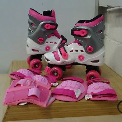 No Fear Girl's Inline Roller Skates Elbow Knee Pads Pink Christmas Gift Size 1-4