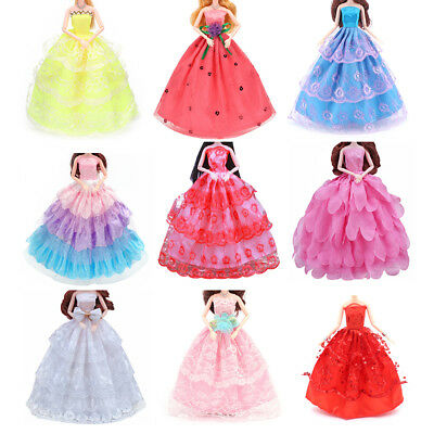 Mix Handmade Doll Dress Doll Wedding Party Bridal Princess Gown Clothes-`