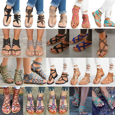 Womens Rome Gladiator Sandals Travel Bohemia Strappy Thong Summer Flat Shoes AU