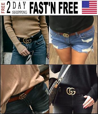 Classic Fashion Women's Genuine Leather Belts Jeans Belt with Letter Buckle 2.8W