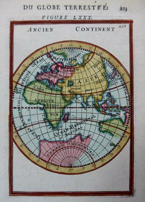 EASTERN HEMISPHERE BY MALLET HAND COLOUR GENUINE ANTIQUE MAP c1683