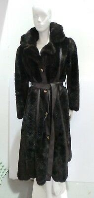 Vintage 1970's SEARs FAUX fur & fake leather coat. Approx size 16/18.