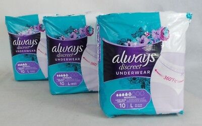Always Discreet Underwear . Size L. 3 packs of 10. (30 in total)  Low rise pant