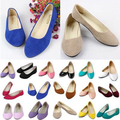 Womens Slip On Flat Ballet Ballerina Pumps Loafers Plain Casual Dolly Shoes Size