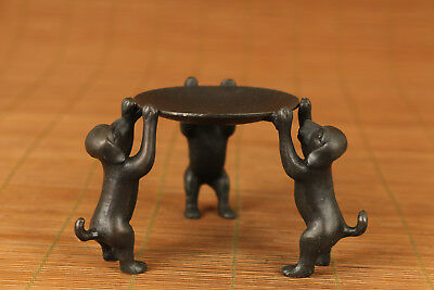 ancient bronze hand casting dog statue oil lamp ./ candle stick ornament