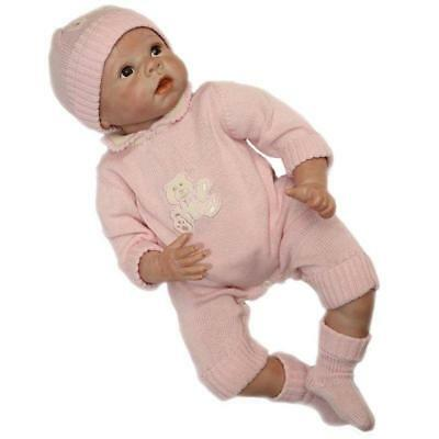 Realistic Baby Girl Doll 22'' Reborn Soft Silicone Sweater Jumpsuit Toddler Bebe