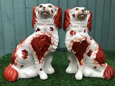 SUPERB PAIR: MID 19thC STAFFORDSHIRE RUSSET RED & WHITE SPANIEL DOGS 1850s