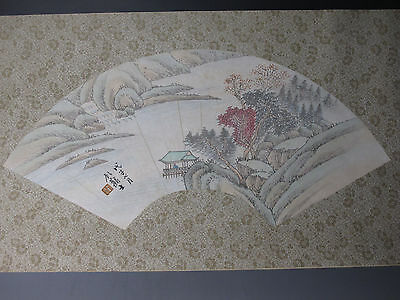 Chinese Paper Fan Painting Painted Landscapes figures Pavilion Painting Signed