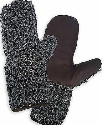 Chainmail Leather Gloves Riveted Black Leather Chain Mail Mittens