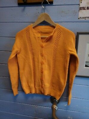 Vintage 1960s Orange Hand knitted Cardigan Small