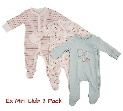 Baby Girls 3 Pack Babygrow Sleepsuit 100% Cotton NEW EX MIN CLUB RRP £16