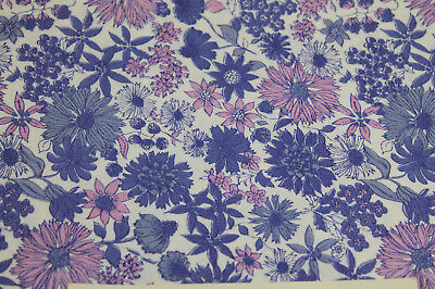 """Vintage Fabric 1 yards x 36"""" wide cotton Purple & blue floral great find !"""